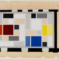 Theo van Doesburg. Café Aubette, definitive colour design for the ceiling of the Grand Hall, 1927. Collection Het Nieuwe Instituut, DOES ab5168. Drawing on Display in Belvere, Vienna.